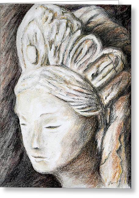 The Face Of Quan Yin Greeting Card by Danuta Bennett