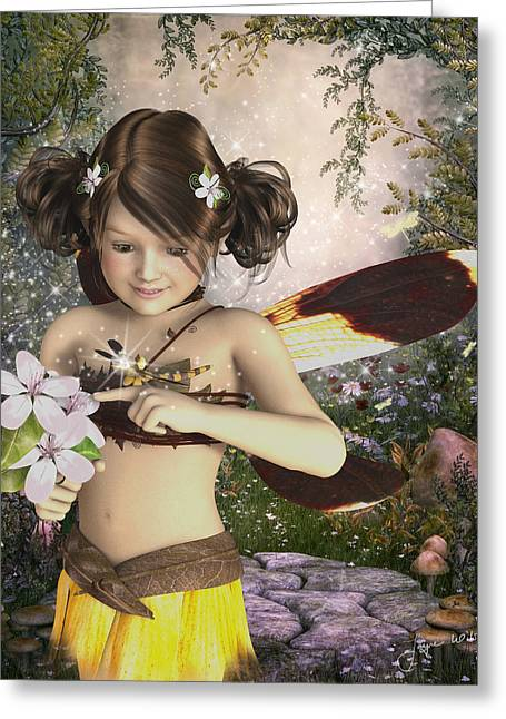 The Fairy And The Dragonfly Greeting Card by Jayne Wilson