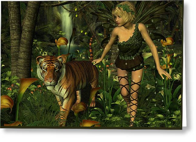 Greeting Card featuring the digital art The Fairy And The Tiger by Jayne Wilson