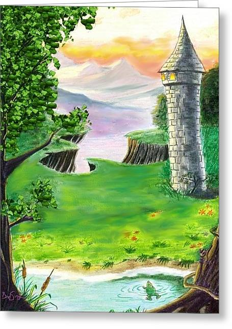 The Fairy Tale Tower Greeting Card by Brad Simpson