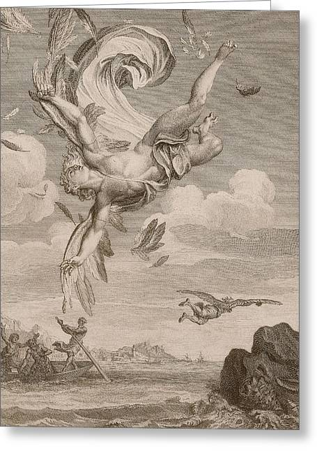 The Fall Of Icarus, 1731 Greeting Card by Bernard Picart