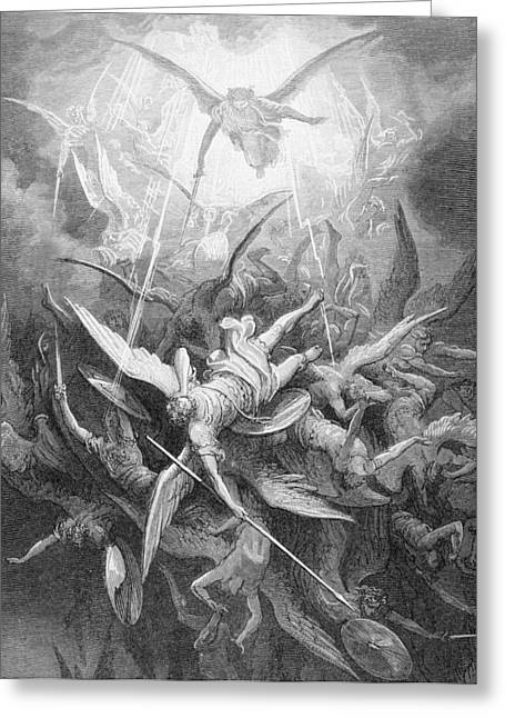 The Fall Of The Rebel Angels Greeting Card by Gustave Dore