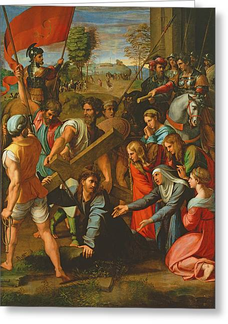 The Fall On The Road To Calvary, 1517 Oil On Canvas Greeting Card by Raphael
