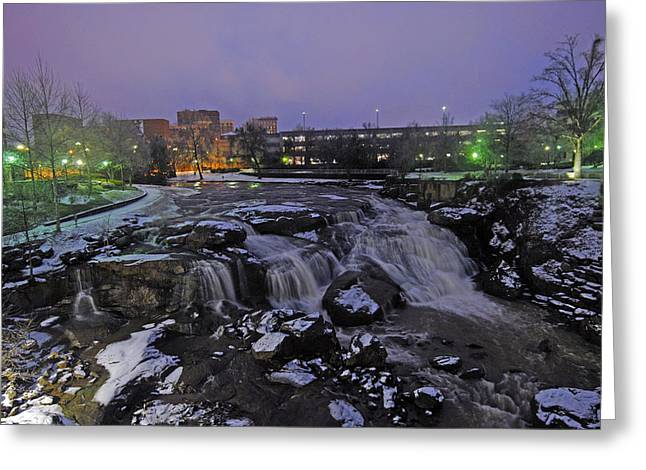 The Falls In Downtown Greenville Sc After A Light Snow Fall Greeting Card by Willie Harper