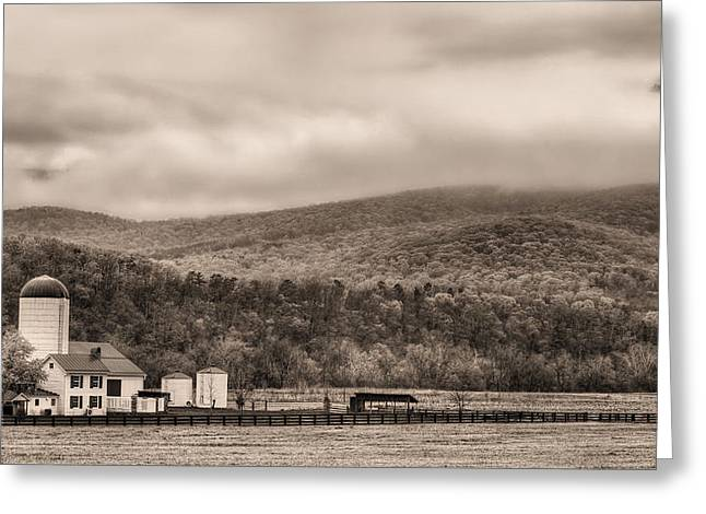 The Family Farm Bw Greeting Card by JC Findley