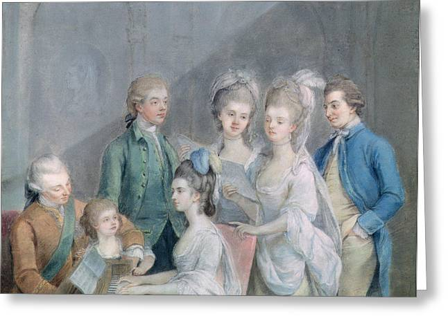 The Family Of Charles Schaw, 9th Baron Cathcart 1721-76 Pastel On Paper Greeting Card
