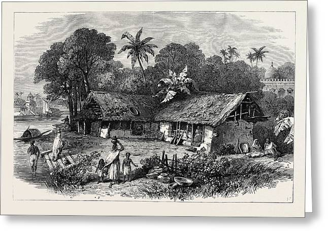 The Famine In India A Bengal Village 1874 Greeting Card by Indian School