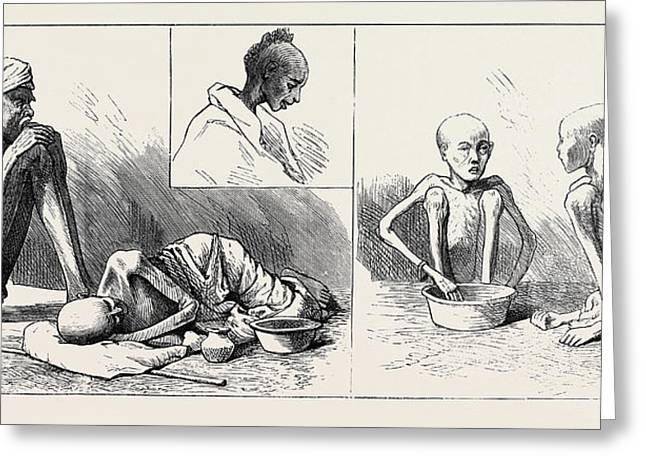The Famine In The Madras Presidency Some Of The Sufferers Greeting Card by English School