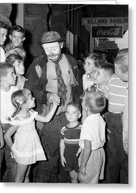 The Famous Clown Emmett Kelly 1956 Greeting Card by Mountain Dreams