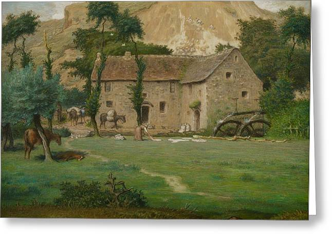 The Farm House Greeting Card by Jean Francois Millet