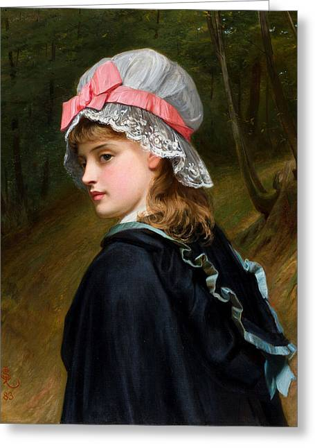 The Farmers Daughter Oil On Canvas Monogrammed And Dated 1883 Greeting Card
