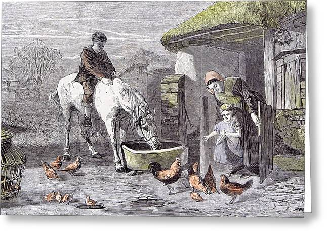 The Farmhouse Porch Walter Goodall Children Horse Chicken Greeting Card by English School