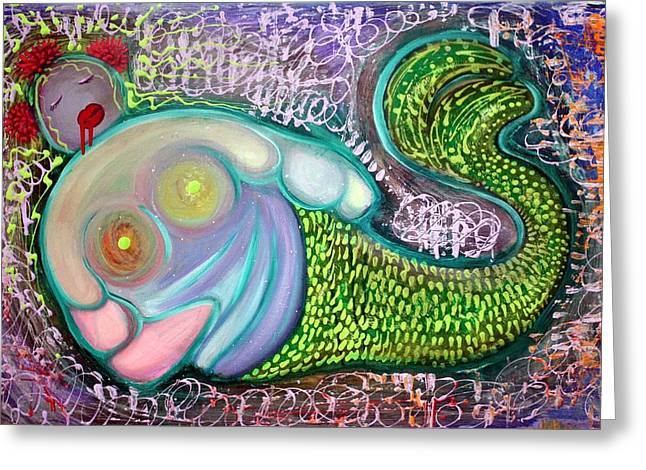 The Fat Mermaid Greeting Card by Laura Barbosa