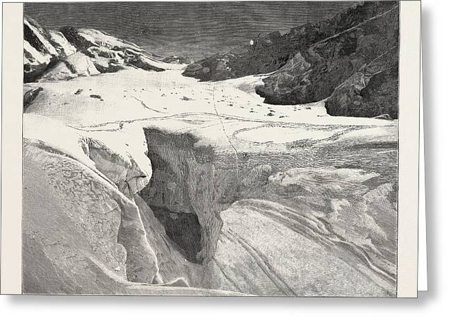 The Fatal Accident On Mont Blanc General View Of The Petit Greeting Card