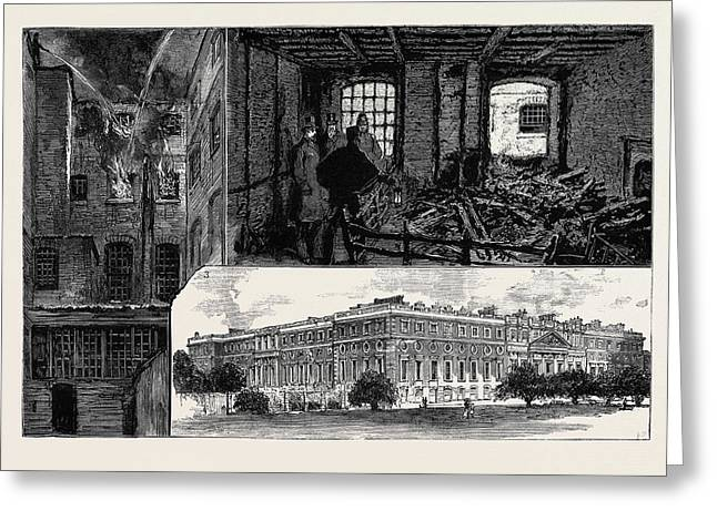 The Fatal Fire At Hampton Court Palace 1 Greeting Card by English School