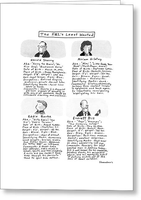 The F.b.i.'s Least Wanted Greeting Card by Danny Shanahan