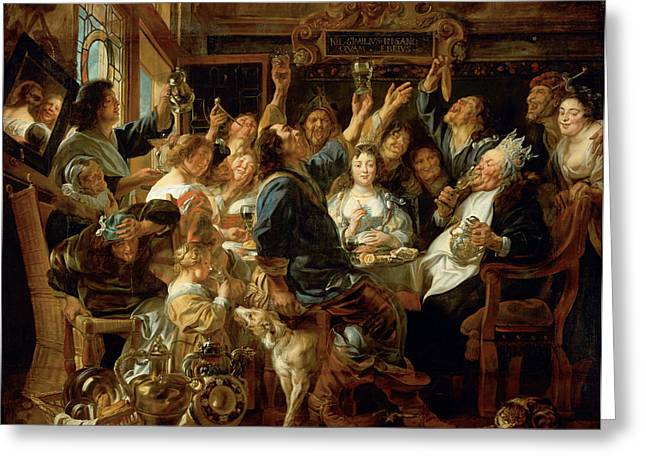 The Feast Of The Bean King Greeting Card by Jacob Jordaens