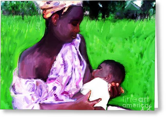 Greeting Card featuring the painting The Feeding 2 by Vannetta Ferguson