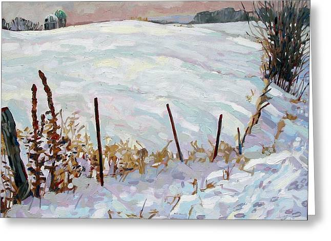 The Fence Line Greeting Card by Phil Chadwick