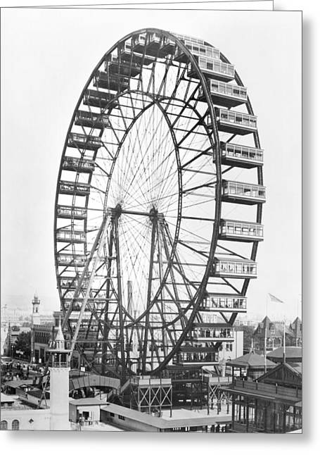The Ferris Wheel At The Worlds Columbian Exposition Of 1893 In Chicago Bw Photo Greeting Card by American Photographer