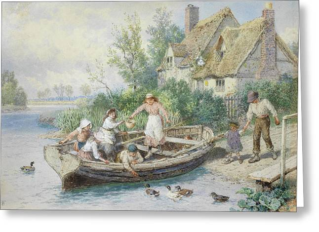 The Ferry Greeting Card by Myles Birket Foster