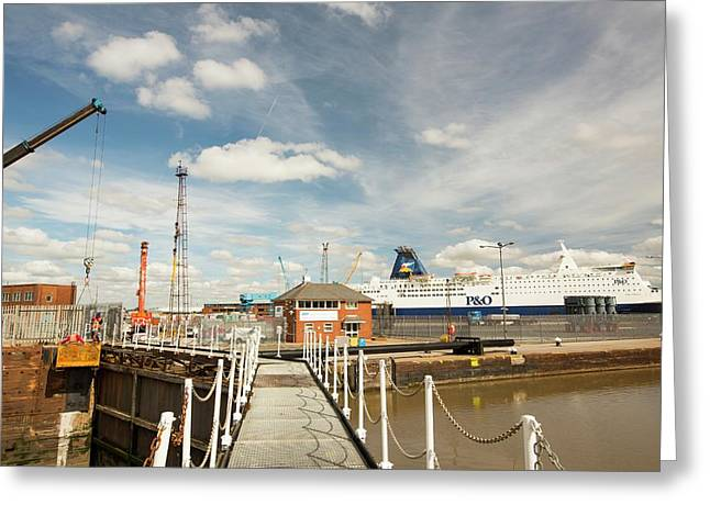 The Ferry Terminal In Hull Greeting Card by Ashley Cooper