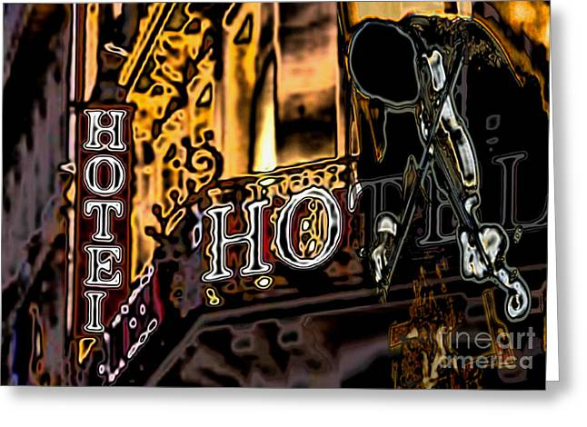Greeting Card featuring the digital art The Fiddler In The Hotel by Mojo Mendiola