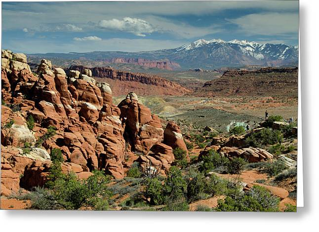 The Fiery Furnace And La Sal Mountains Greeting Card by Roddy Scheer