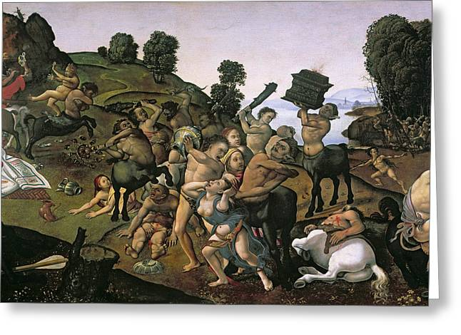 The Fight Between The Lapiths And The Centaurs, Detail Of Centaurs Attacking The Lapiths C.1490s Greeting Card by Piero di Cosimo