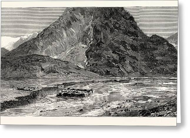 The Fighting Near Gilgit, Panorama Of Chalt On The Hunza Greeting Card by English School