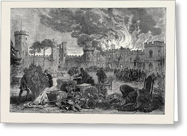 The Fire At Warwick Castle 1871 Greeting Card