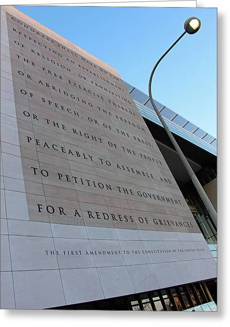 The First Amendment At The Newseum Greeting Card by Cora Wandel