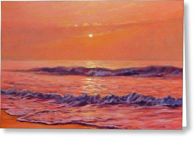 The First Day-sunrise On The Beach Greeting Card by Bonnie Mason