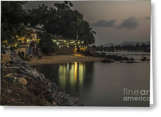 The First Evening Light Reflections Greeting Card by Michelle Meenawong