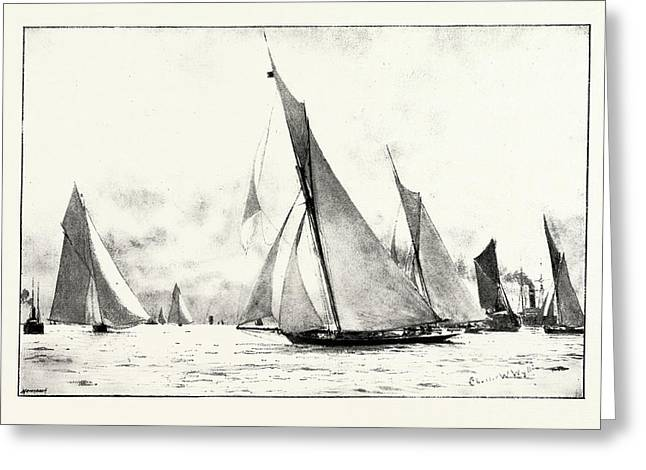 The First Race Of The Royal Thames Yacht Club The Iverna Greeting Card by English School