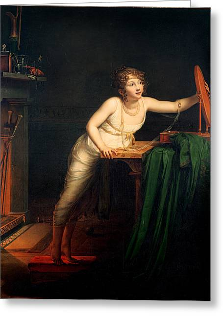 The First Sense Of Coquetry, 1804 Oil On Canvas Greeting Card