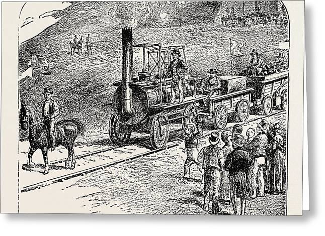 The First Train On The Stockton And Darlington Railway Greeting Card by English School