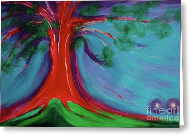 Greeting Card featuring the painting The First Tree By Jrr by First Star Art
