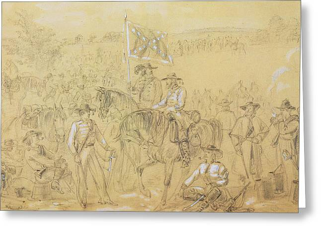 The First Virginia Cavalry At A Halt Greeting Card by Alfred R Waud