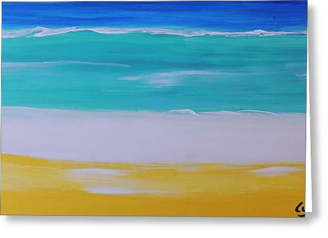 Greeting Card featuring the painting The First Wave by Lyn Olsen