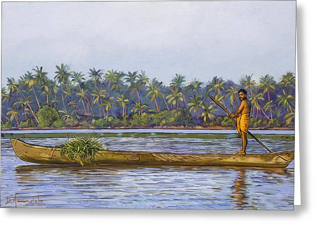 The Fisherman And His Boat Greeting Card by Dominique Amendola