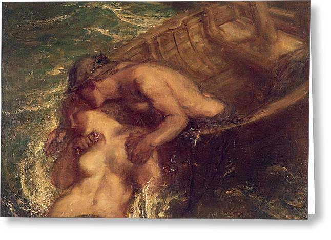 The Fisherman And The Mermaid, 1901-03 Greeting Card by Charles Haslewood Shannon
