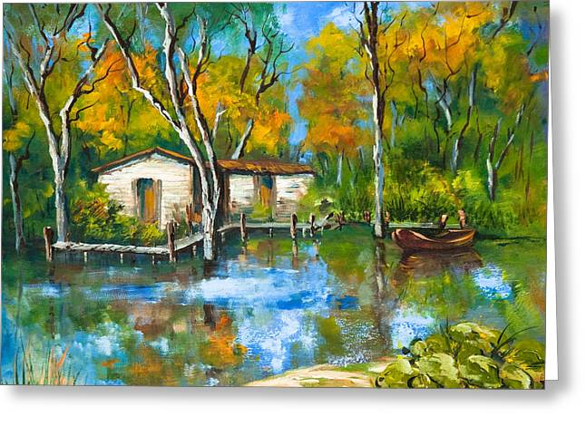 The Fishing Camp Greeting Card by Dianne Parks