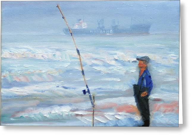 The Fishing Man Greeting Card by Michael Daniels