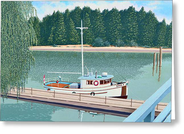 Greeting Card featuring the painting The Converted Fishing Trawler Gulvik by Gary Giacomelli