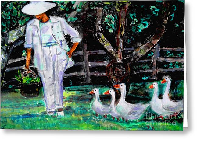 The Five Ducks Greeting Card by Helena Bebirian