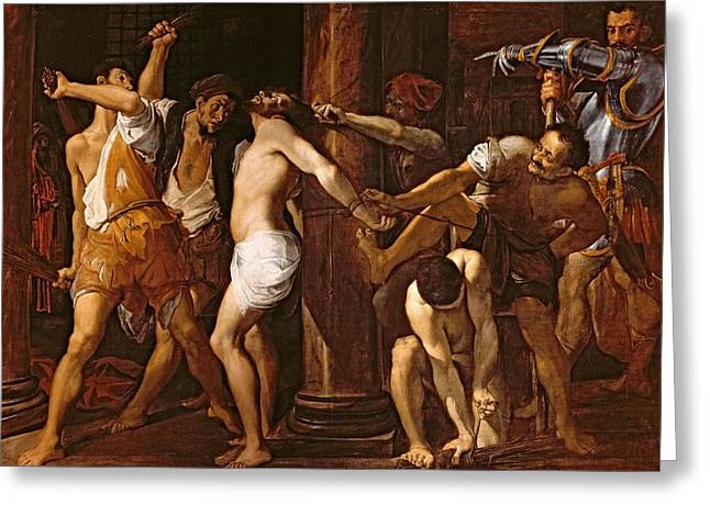 The Flagellation Of Christ, 1586-87 Oil On Canvas Greeting Card