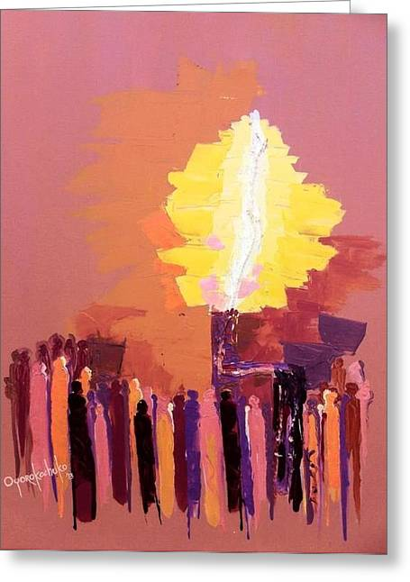 The Flare A Beacon Of Hope And Anguish Greeting Card by Oyoroko Ken ochuko