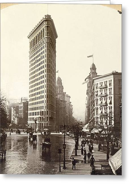 The Flatiron Building In Ny Greeting Card by Underwood Archives