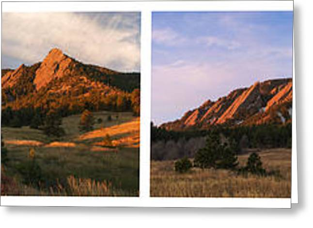 The Flatirons - Four Seasons Panorama Greeting Card by Aaron Spong